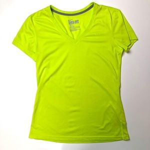 Nike Dri-Fit Lime Green V-Neck Short Sleeve Top S